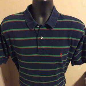 Polo Ralph Lauren Striped Rugby Polo Shirt Navy Blue/Red/Green Men's Size XL